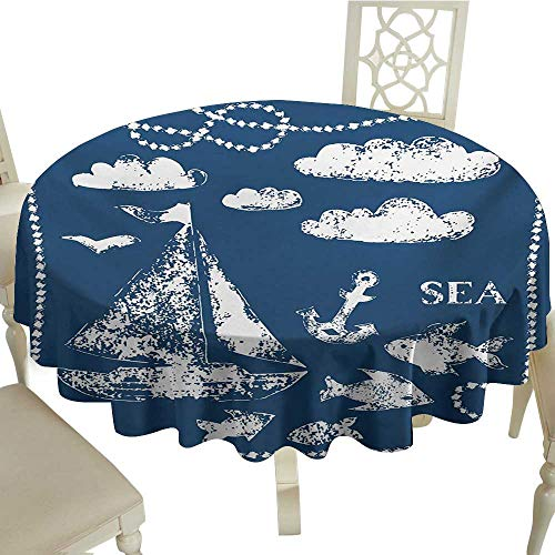 Cranekey Vintage Round Tablecloth 50 Inch Navy Blue,Sea Themed Hand Print Grunge Elements Marine Underwater Yacht Cruise Collection,Navy White Great for,Wedding & More
