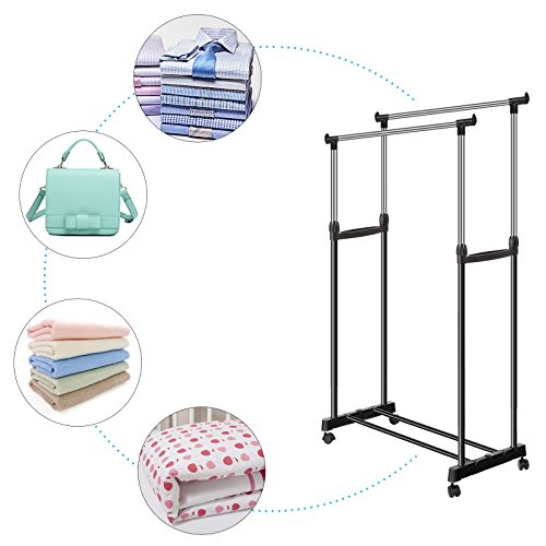 Viedoct Portable Double Rail Clothes Racks Commercial Grade Hanging Garment with Wheels Adjustable Height for Boutiques (Black) by Viedoct