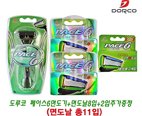 DORCO Pace 6 Blade System 1 Razor + 2 boxes of 4 cartridges