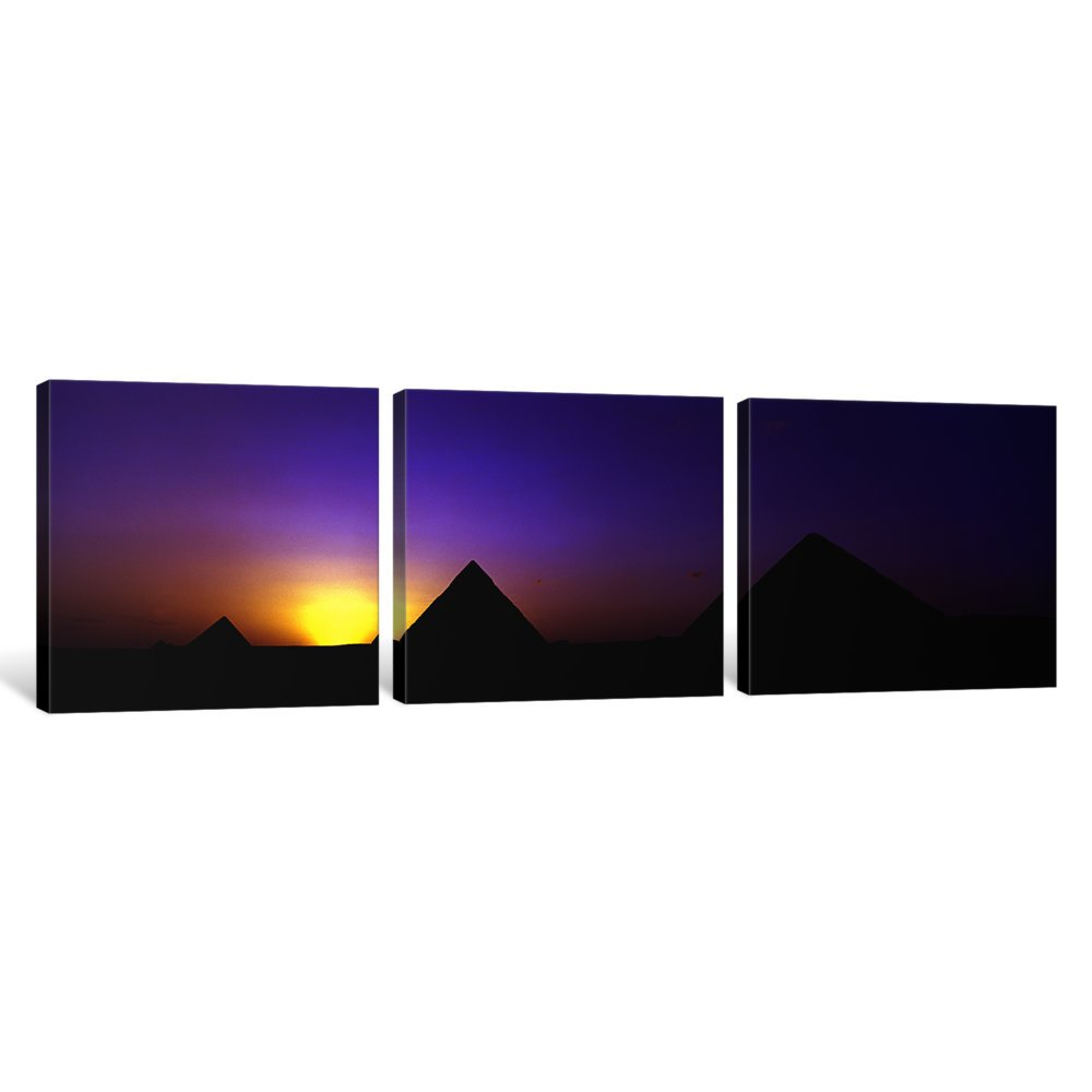 Giza Egypt Canvas Print by Panoramic Images iCanvasART 3 Piece Silhouette of Pyramids at Dusk 48 x 16//1.5 Deep