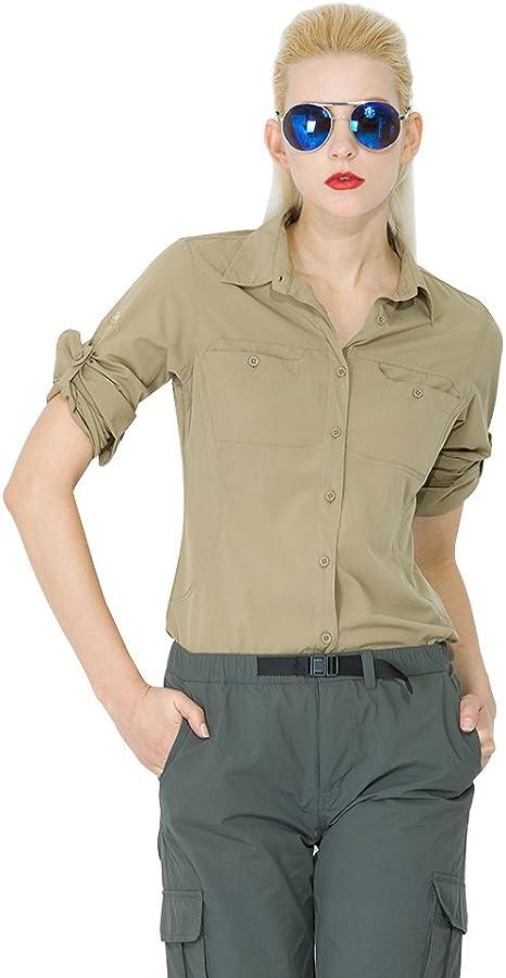 Mujeres PINGORA aventura al aire libre de secado rápido camisa de manga larga, Mujer, color Marrón - caqui, tamaño M: Amazon.es: Deportes y aire libre
