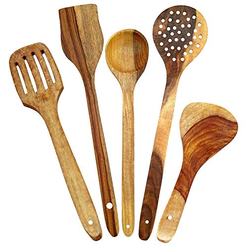 - SRE_handicrafts Healthy Cooking Utensils Set of 5 Wooden Spoons For Cooking–Natural Nonstick Hard Wood Spatula and Spoons/Uncoated and Unglued/Durable Eco-friendly and Safe Kitchen Cooking Tools