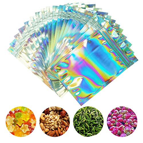 SMONCO 100 Pieces Smell Proof Bags – 4×6 Inches Resealable Mylar Bags Clear Zip Lock Food Candy Storage Bags Holographic…