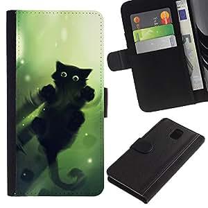 Stuss Case / Funda Carcasa PU de Cuero - Gato Verde - Samsung Galaxy Note 3 III