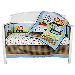 Under Construction 4 Piece Baby Crib Bedding Set for boys with Bumper by Riegel