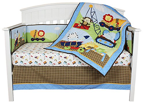 Under Construction 4 Piece Baby Crib Bedding Set with Bumper by Riegel