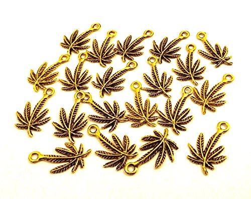 Set of Twenty (20) Gold Tone Pewter Small Marijuana Leaf Charms