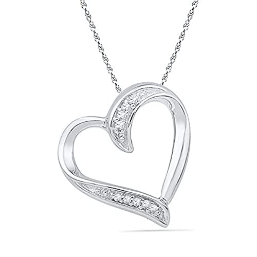 a3d6b70b7 Image Unavailable. Image not available for. Color: Womens Round Diamond  Heart Outline Pendant .03-Carat tw, in 10K White Gold