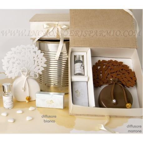 Diffusore/profumatore per ambienti a tema albro della vita bianco con base a forma di ampolla, essenza inclusa completo di scatola rivestita in tessuto - regali natalizi, pensierini per casa per natale ingrosso e risparmio