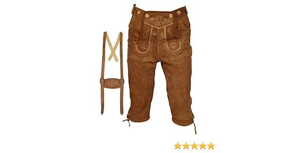 Traje de tirolés, para hombre, pantalón de piel con Rodillera, con tirantes, en color negro, tallas 46 a 60