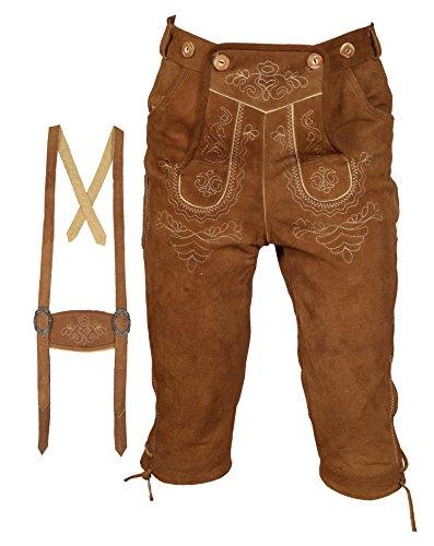 Herren Trachten Lederhose Kniebundhose mit Trägern hellbraun (54)