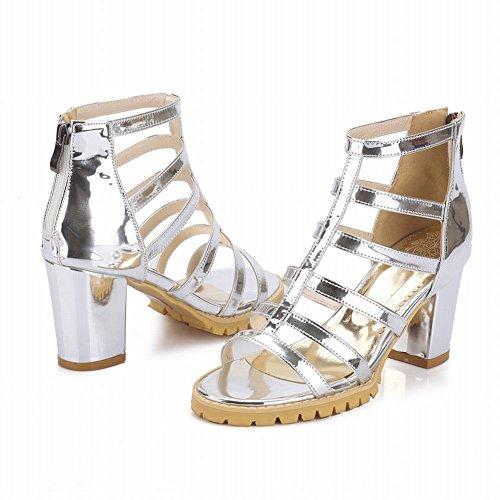 Sandali Con Tacco Alto In Pelle Verniciata Stile Gladiatore Open Toe