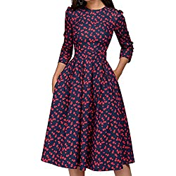 Simple Flavor Women's Floral Vintage Dress Elegant Autumn Midi Evening Dress 3/4 Sleeves (Red