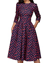 3a54c6d4dd Women s Floral Vintage Dress Elegant Midi Evening Dress 3 4 Sleeves