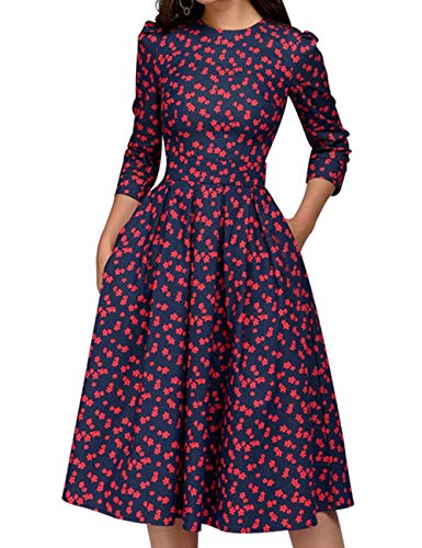 Simple Flavor Women's Floral Vintage Dress Elegant Autumn Midi Evening Dress 3/4 Sleeves (Red,L)