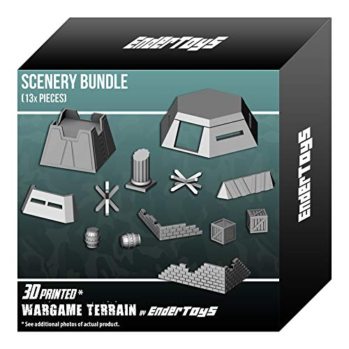 EnderToys Scenery Bundle, Terrain Scenery for Tabletop 28mm Miniatures Wargame, 3D Printed and Paintable from EnderToys