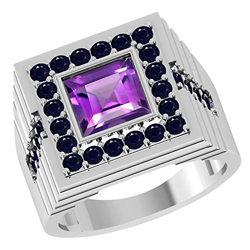 - 2.90 Ct Purple Square Amethyst And Black Spinel 925 Sterling Silver Ring For Women: Nickel Free Beautiful And Stylish Engagement Gift For Wife: Ring Size-10