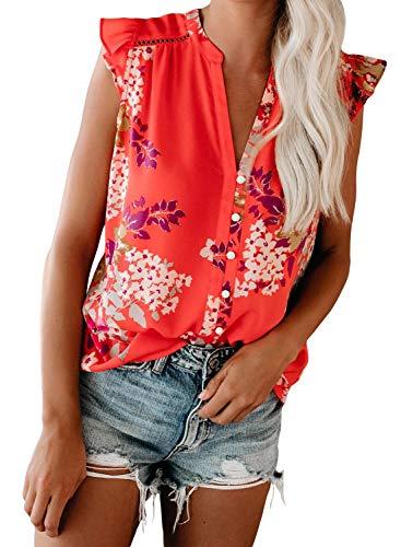 BLENCOT Women's Floral Print V Neck Tank Tops Casual Ruffle Sleeveless Shirts Blouses