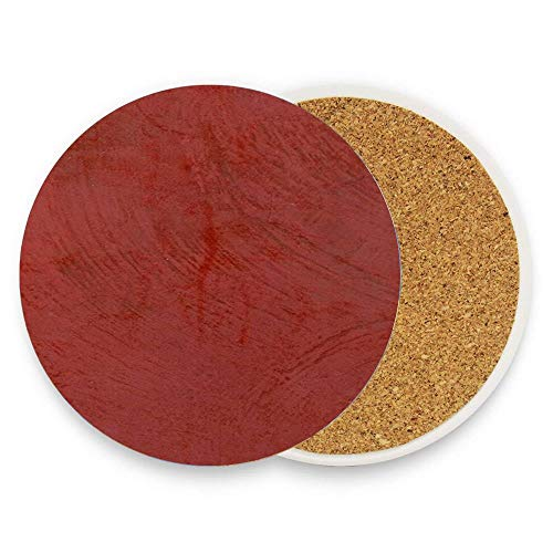 Uwwrticm Tuscan Red Venetian Plaster 1 Piece Absorbent Ceramic Stone Coasters for Drinks, Porcelain Coaster with Cork Backing