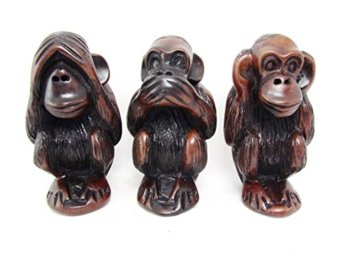 onkeys See No Evil Hear No Evil Say No Evil Resin Figurines Set Brown 4.5