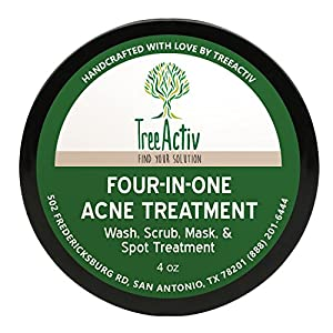 TreeActiv Four-in-One Acne Treatment | Wash, Scrub, Mask, and Spot Treatment | Heals Rosacea | Exfoliating Sugar | Face or Body | Natural Sulfur Clear Skin Cleanser | Bentonite (4 Ounce)