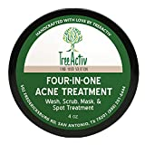 Clay Mask for Cystic Acne TreeActiv Four-in-One Acne Treatment  Wash, Scrub, Mask, and Spot Treatment  Heals Rosacea  Exfoliating Sugar  Face or Body  Natural Sulfur Clear Skin Cleanser  Bentonite (4 Ounce)