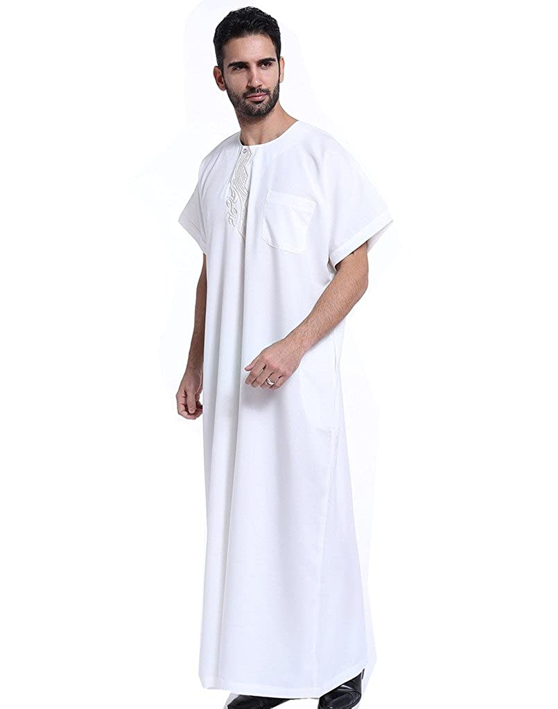 d5cedbc712fd Amazon.com  GladThink Men s Muslim Thobe with Short Sleeves  Clothing