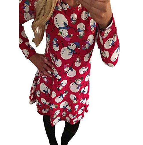 Christmas Dress Mallcat Women Christmas Snowman Swing Dress (S, Red)