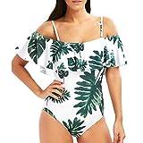 Womens Swimsuits,Bokeley Sexy Womens One Piece Pineapple Floral Print Monokini Push-Up Padded Bra Bathing Suit Women Off Shoulder Swimwear (White1, XL)