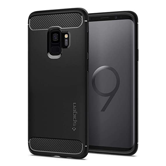 hot sale online 67d3f c3693 Spigen Galaxy S9 Case [Rugged Armor] Original Patent Carbon Fiber Design  Galaxy S9 (2018) Cover Shock Absorption - 592CS22834 [Black]