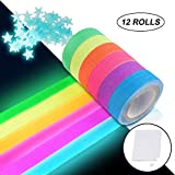 UV Blacklight Reactive Tape Neon Gaffer Fluorescent Cloth Tape for Party Decoration (12 Rolls)