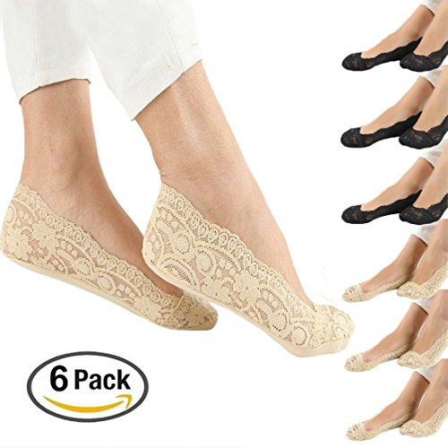Women's Ultra Low Cut Liner No Show Socks with Non Skid Gel (Pack of 6)