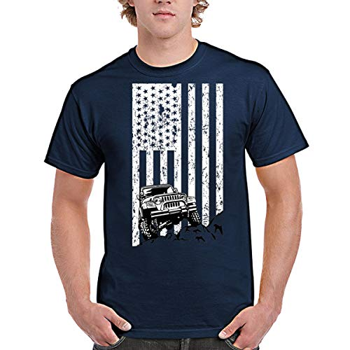 zipstore Jeep USA Flag T-Shirt for Men Women Love Jeep Car Proud of Country by zipstore