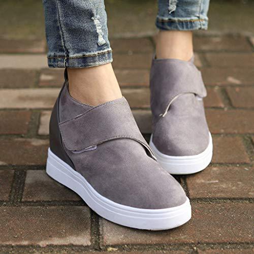 Plataforma Zapatos Gray Cuña Deporte Flat Loafer De Casual Velcro Primavera Verano Casual Mocasines Mujer vFIwOq
