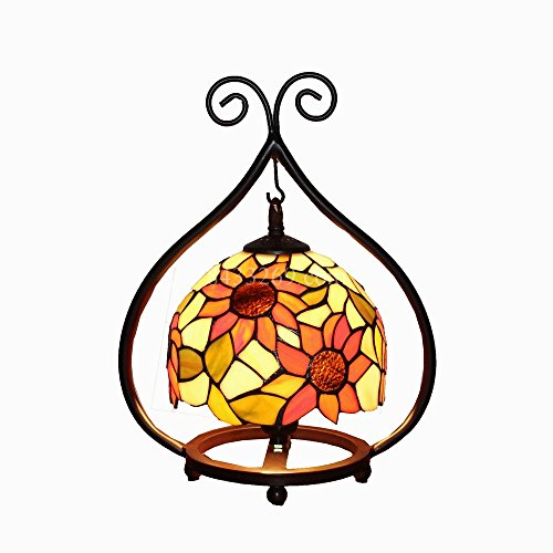 8 inch Width Shade Sunflowers Table Light Bedside Lamp Stained Glass Handmade Lamp (Style 2)