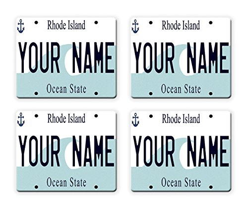 Island Plate State Rhode License (BleuReign(TM) Personalized Custom Name Rhode Island State License Plate Set of 4 Square Coasters)
