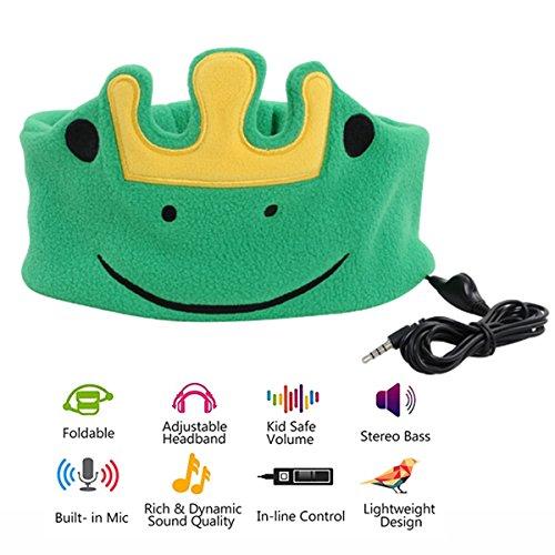 ABOGALE Children Headband Headphone Music Headband, Comfortable Volume-Limited Soft Fleece Headband for Kids(Green Frog)