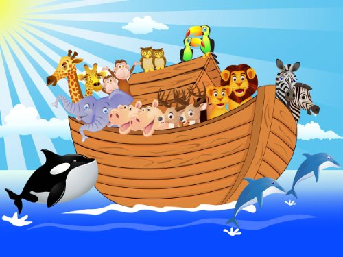 wandmotiv24 Wall Mural Noah's Ark M0503 XL 137.7 x 96.4 inches - 7 Parts Mural - Motif Wallpaper