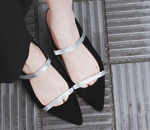 PBXP OL pompe punta punta cinghia decorazione tacco basso chunky edizione limitata scarpe casual femminili UE taglia 33-40 , black , 39
