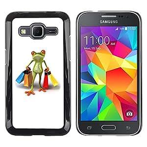 rígido protector delgado Shell Prima Delgada Casa Carcasa Funda Case Bandera Cover Armor para Samsung Galaxy Core Prime SM-G360 -Clothes Shop Frog White -