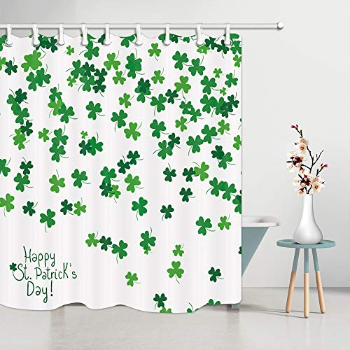 69x70Inches Green Clover Falling on White Bath Curtain Set with Shower Hooks Patricks Day Clover Shower Curtain JAWO St