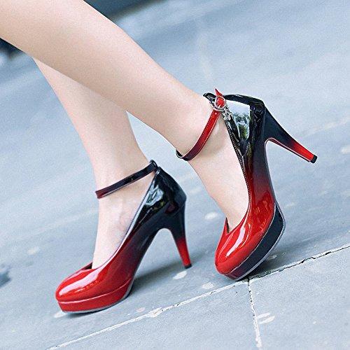 Carolbar Women's Assorted Color Chic Ankle Strap High Heel Court Shoes Black+Red 8RbjSmIR