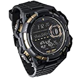 Digital LED Backlight Display Quartz Watch (Youngs) Water Resistant Electronic Sport Watches for men(Black)