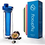 Hydracy Fruit Infuser Water Bottle - 25 Oz Sports Bottle with Full Length Infusion Rod and Insulating Sleeve Combo Set + 27 Fruit Infused Water Recipes eBook Gift - Azure Blue