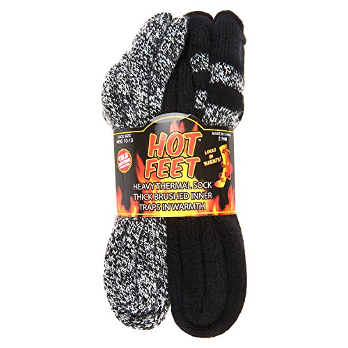 Hot Feet Men's 2 Pairs Heavy Thermal Socks - Thick Insulated Crew for Cold Weather,Black W/ Grey Stripe and Black Grey Marl,10-13Hot Feet Men's 2 Pairs Heavy Thermal Socks - Thick Insulated Crew for Cold Weather,Black W/ Grey Stripe and Black Grey Marl,10-13