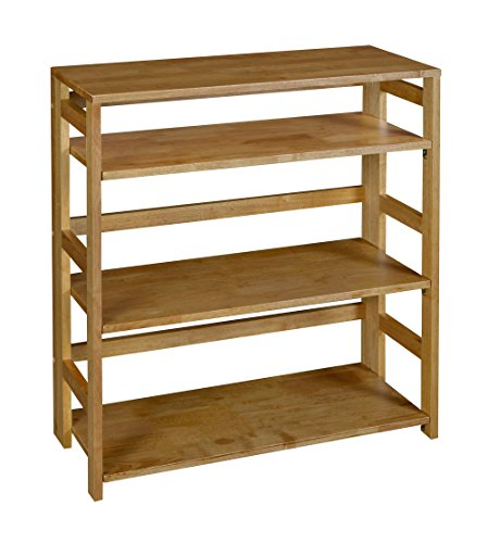 Regency Flip Flop 34-inch High Folding Bookcase- Medium Oak - Shelves flip up and whole bookcase folds flat for easy transportation and storage Assembles without tools in less than 5 minutes 3 flip-down shelves and one fixed top shelf - living-room-furniture, living-room, bookcases-bookshelves - 519FgO%2BH47L -