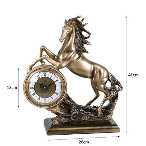 LANNA SHOP- European retro horse Quartz clock , Resin Living room desk shelf stand clocks Decoration ( Color : Bronze ) ()