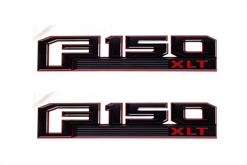 3x OEM F150 XLT Fender Emblem F150 Rear Tailgate Badge 3D logo Nameplate Replacement for F-150 Red Black Origianl size Genuine Parts