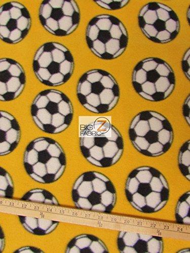 Big Z Fabric YELLOW SOCCER PRINT POLAR FLEECE FABRIC 60