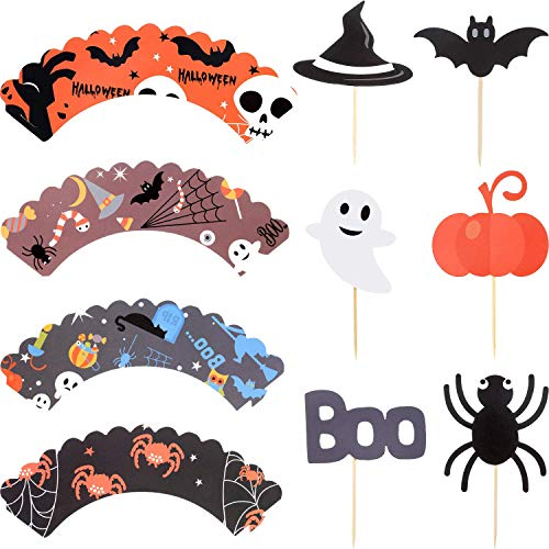 Halloween Cute Cupcake Topper Wrappers Set Cake Liners Birthday Theme Party Decoration Pack of 24 (Pumpkin Spider Bat Witch Hat Ghost Boo Elf Decor)